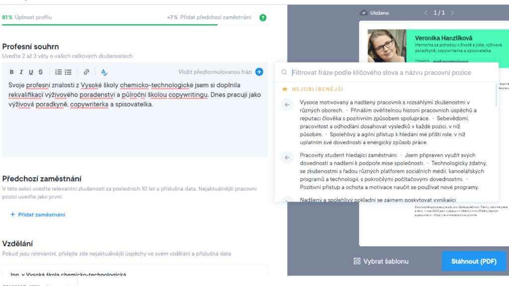 Tvorba životopisu přes aplikaci CVAPP.cz